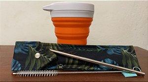 Copo menos 1 lixo laranja + Kit Canudo aço inox 6 mm