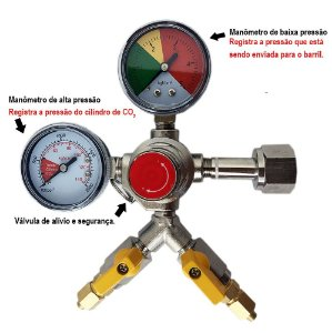 Regulador de Pressao para CO2 -  2 vias