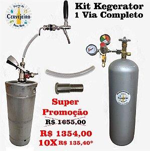 Kit Kegerator 1 Via -Torneira Italiana + Barril Inox 20 L + Extratora + Cilindro CO2 6kg + Regulador de Pressão