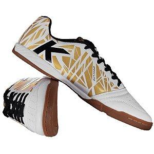 Tênis de Futsal Kelme Subito - Branco e dourado