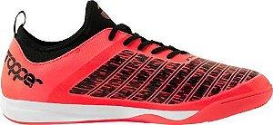 Tenis de Futsal Topper Velocity TD - Preto/Coral