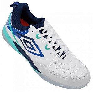 Tenis de Futsal Umbro Pró V - Branco / Azul Gel