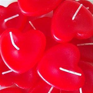 Kit com 8 velas vermelhas em formato de coração