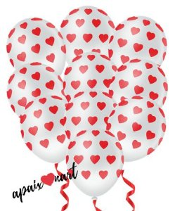 10 Balões Brancos Com Coração Vermelho Surpresa Romântica