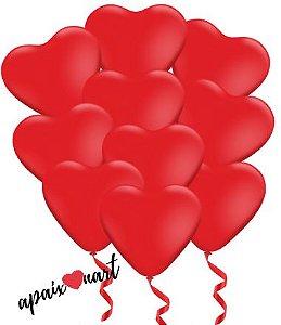 10 Balões N10 Formato De Coração Vermelho