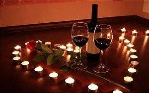 Kit Romântico Para Namorados, Pétalas, Taças, Velas Coração