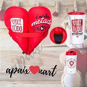 Kit Presente Dia Dos Namorados Almofada Coração + Lindo Copo