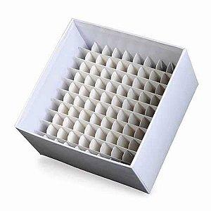 Caixa de armazenamento em fibra de papelão para 100 microtubos de 1,5 mL a 2 mL, mod.: K30-0102 (Kasvi)