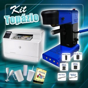 Kit  Topázio Top Transfer 3 Estrelas 6 Em 1 + Impressora HP a laser + Insumos
