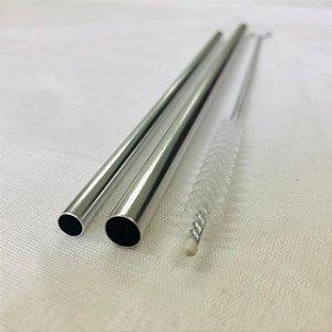Kit (Escolha a Cor) 1 canudo 8mm + 1 canudo comum + Escova Higienizadora