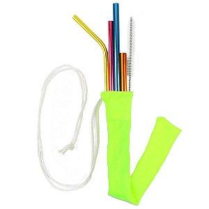 Kit Todos em Um Neon Color 4 canudos + Case + Escova Higienizadora