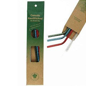 Kit Aquarela 3 Canudos Curvos + Escova Higienizadora