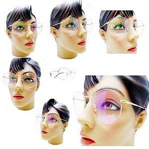 54f674836cf35 Armação Oculos Para Grau Feminino Redondo Retro Vintage Metal Dourado Barato