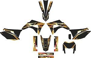 Kit adesivo 3M Crf 230 Eldorado + Kit plástico Elite Biker Preto