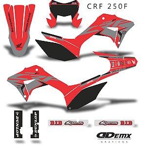 Kit Adesivo 3M Red Gray Crf 250F 2019 S/ Capa de banco