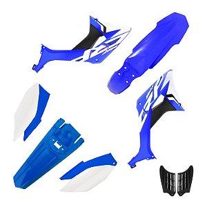 kit plastico crf 250f  Biker evo Azul e Branco
