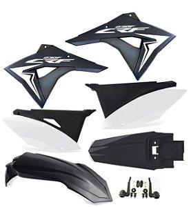 Kit Plástico Crf 230 Elite Biker 2008 - 2018 preto/branco