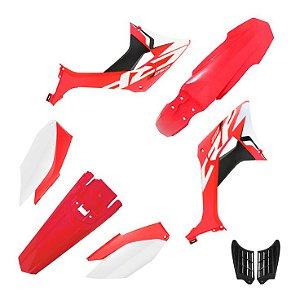 kit plastico crf 250f  Biker evo Vermelho e Branco