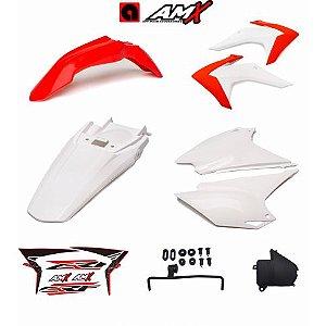 Kit plastico amx crf 230 Vermelho/Branco