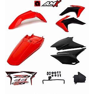 Kit plastico amx crf 230 Vermelho/Preto