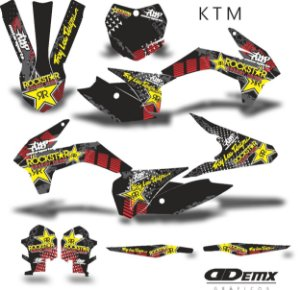 Kit Adesivo 3M ktm ROCKSTAR BLACK ARROW