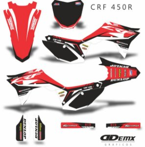Kit Adesivo 3M Honda DECALS RED BLACK Crf 250/450R​