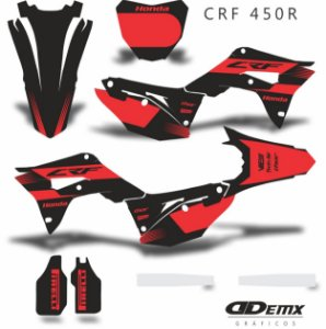 Kit Adesivo 3M Honda BLACK AND RED Crf 250/450R​​​​​​