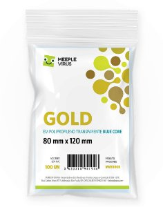 Sleeves Gold (80 mm x 120 mm) Blue Core - Meeple Virus