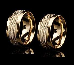 Par de Alianças Recarti 8mm - 3 Camadas de Ouro 18k