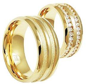 Par de Alianças Royale - 3 Camadas de Ouro 18k