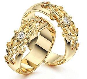 Par de Alianças Amarilis - Ouro 18k
