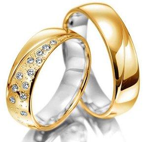 Par de Alianças Bromelia - Ouro 18k