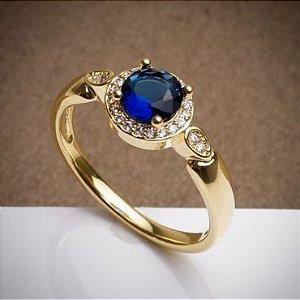 Anel de Formatura - Azul - 3 Camadas de Ouro 18k