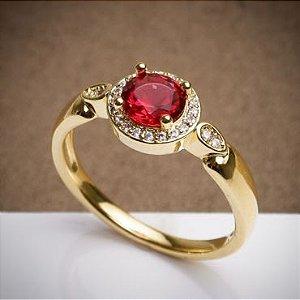 Anel Formatura - Vermelho -  3 Camadas de Ouro 18k