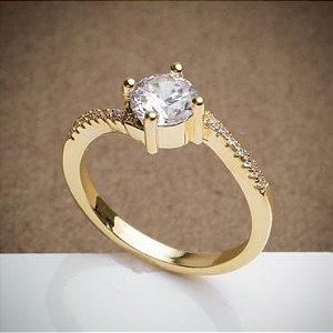 Anel de Noivado - Solitário - 3 Camadas de Ouro 18k