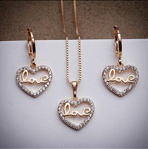 Conjunto Love Rose - 3 Camadas de Ouro 18k