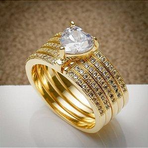 Anel Luxo - 3 Camadas de Ouro 18k