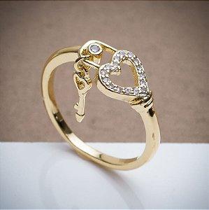 Anel Chave - 3 Camadas de Ouro 18k