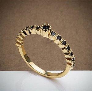 Anel Solitário Negro - 3 Camadas de Ouro 18k