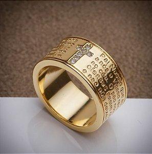 Anel Pai Nosso - 3 Camadas de Ouro 18k