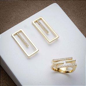 Conjunto Niemeyer - 3 Camadas de Ouro 18k