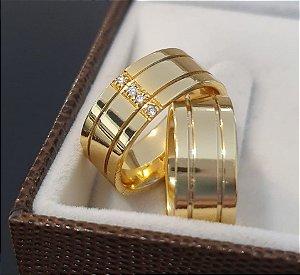 Par de Alianças Euro - 3 Camadas de Ouro 18k