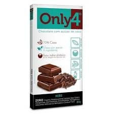 CHOCOLATE 70% CACAU SABOR PURO COM NIBS ONLY4 80g