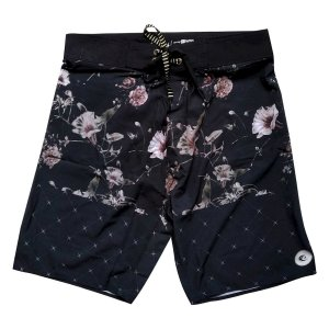 Bermuda Boardshort Stretch WSS Flowers Black