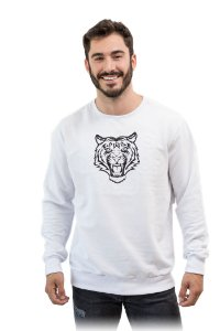 Casaco Moletom Com Felpa Estampa Tigre Cor Branco