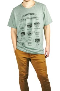 CAMISETA MANGA CURTA ESTAMPA COFFEE MENU COR VERDE PA