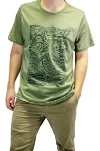CAMISETA MANGA CURTA ESTAMPA WAVES COR VERDE MILITAR