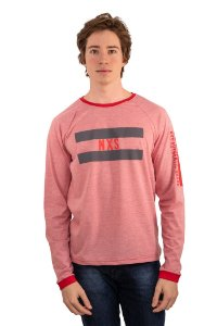 Camiseta Manga Longa Raglan Com Estampa Cor Microlistradinho Vermelho