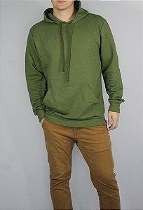 Casaco Moletom Sem Felpa com capuz e bolso frontal cor Verde Oliva