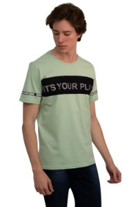 CAMISETA MANGA CURTA ESTAMPA ITS YOUR PLAY CHA VERDE